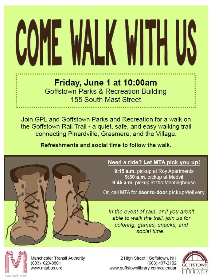 Come walk with us June 1st 2018 flyer